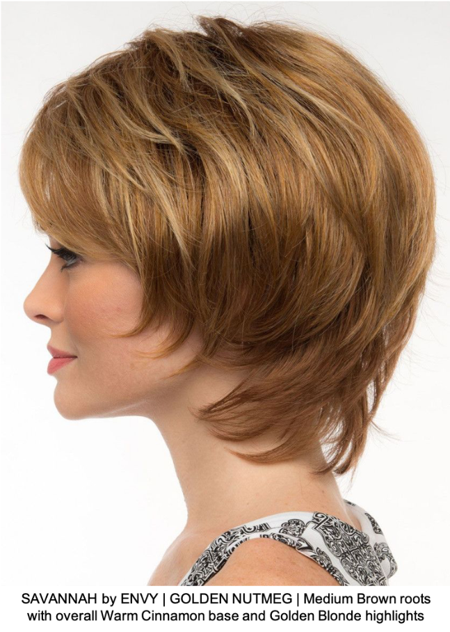 SAVANNAH by ENVY | GOLDEN NUTMEG | Medium Brown roots with overall Warm Cinnamon base and Golden Blonde highlights