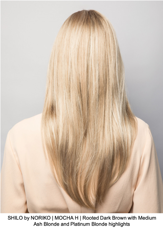SHILO by NORIKO | MOCHA H | Rooted Dark Brown with Medium Ash Blonde and Platinum Blonde highlights