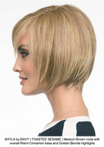 SHYLA by ENVY | TOASTED SESAME | Medium Brown roots with overall Warm Cinnamon base and Golden Blonde highlights