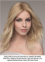 SPECTRA PLUS by ELLEN WILLE | SANDY BLONDE ROOTED | Medium Honey Blonde, Light Ash Blonde, and Lightest Reddish Brown blend with Dark Roots