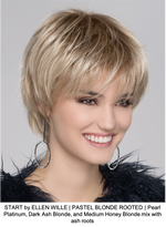 START by ELLEN WILLE | PASTEL BLONDE ROOTED | Pearl Platinum, Dark Ash Blonde, and Medium Honey Blonde mix with ash roots