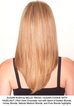 SUGAR RUSH by BELLE TRESS | SUGAR COOKIE WITH HAZELNUT | Rich Dark Chocolate root with blend of Golden Blonde, Honey Blonde, Natural Medium Blonde, and Pure Blonde highlights