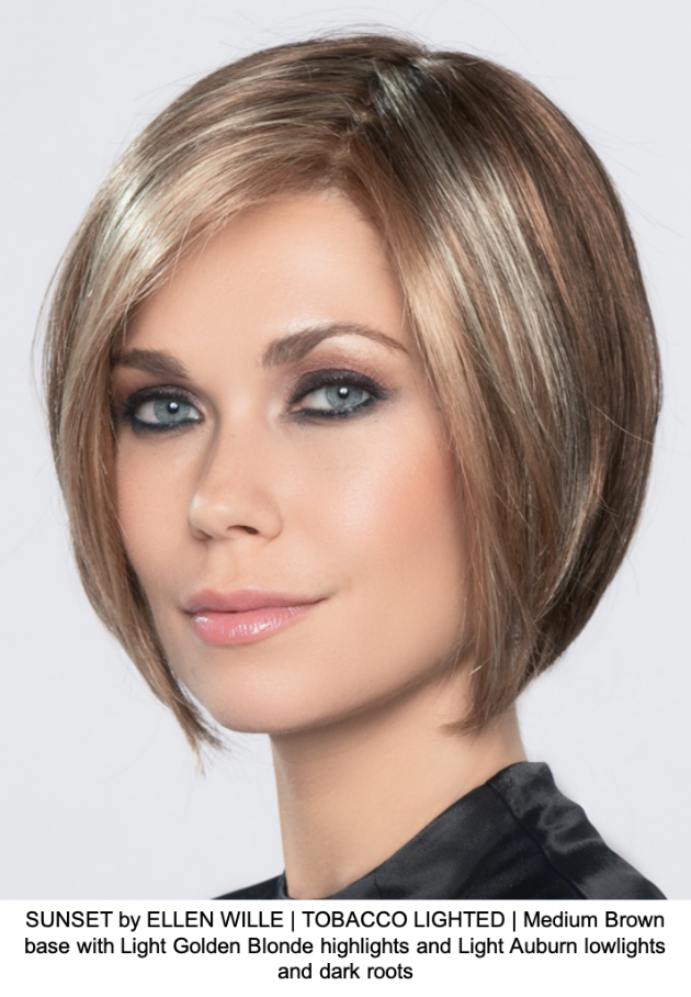 SUNSET by ELLEN WILLE | TOBACCO LIGHTED | Medium Brown base with Light Golden Blonde highlights and Light Auburn lowlights and dark roots