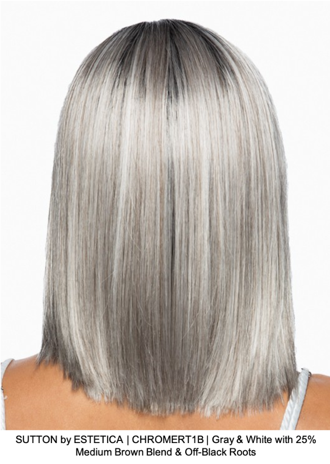 SUTTON by ESTETICA | CHROMERT1B | Gray & White with 25% Medium Brown Blend & Off-Black Roots