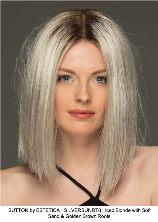 SUTTON by ESTETICA | SILVERSUNRT8 | Iced Blonde with Soft Sand & Golden Brown Roots