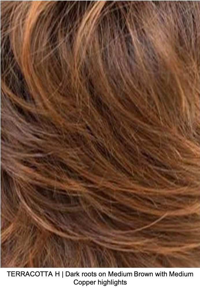 TERRACOTTA H | Dark roots on Medium Brown with Medium Copper highlights