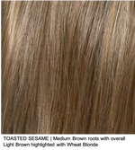 TOASTED SESAME | Medium Brown roots with overall Light Brown highlighted with Wheat Blonde