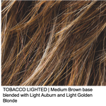 TOBACCO LIGHTED | Medium Brown base blended with Light Auburn and Light Golden Blonde