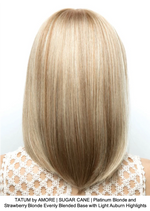 TATUM by AMORE | SUGAR CANE | Platinum Blonde and Strawberry Blonde Evenly Blended Base with Light Auburn Highlights