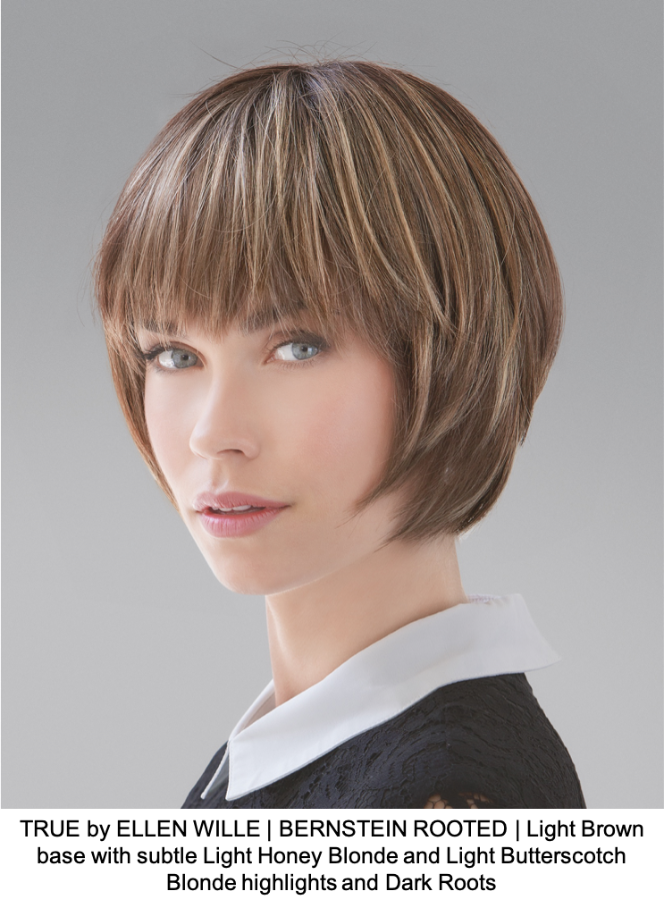 TRUE by ELLEN WILLE | BERNSTEIN ROOTED | Light Brown base with subtle Light Honey Blonde and Light Butterscotch Blonde highlights and Dark Roots