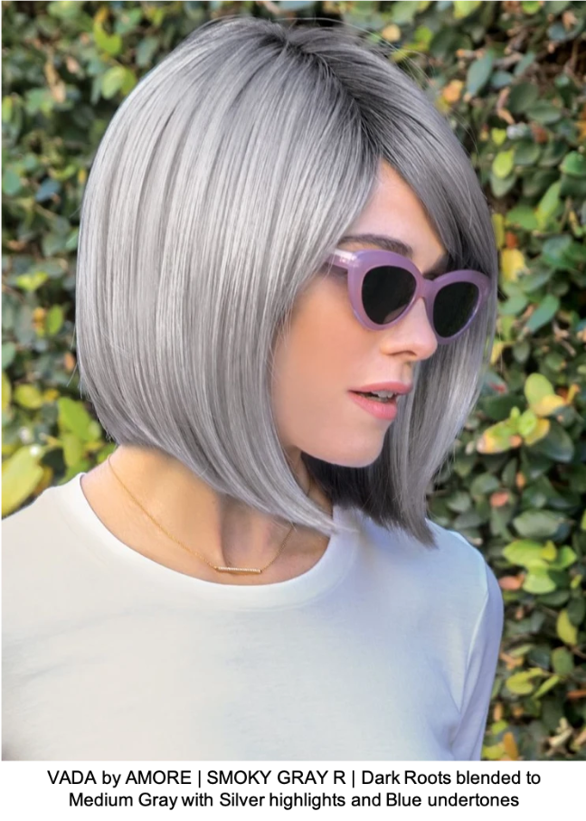 VADA by AMORE | SMOKY GRAY R | Dark Roots blended to Medium Gray with Silver highlights and Blue undertones