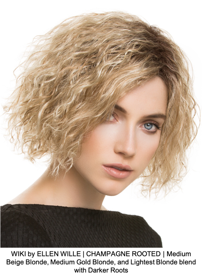 WIKI by ELLEN WILLE | CHAMPAGNE ROOTED | Medium Beige Blonde, Medium Gold Blonde, and Lightest Blonde blend with Darker Roots