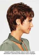 WINNER LARGE by RAQUEL WELCH | R9S+ GLAZED MAHOGANY | Dark Brown With Medium Auburn Highlights
