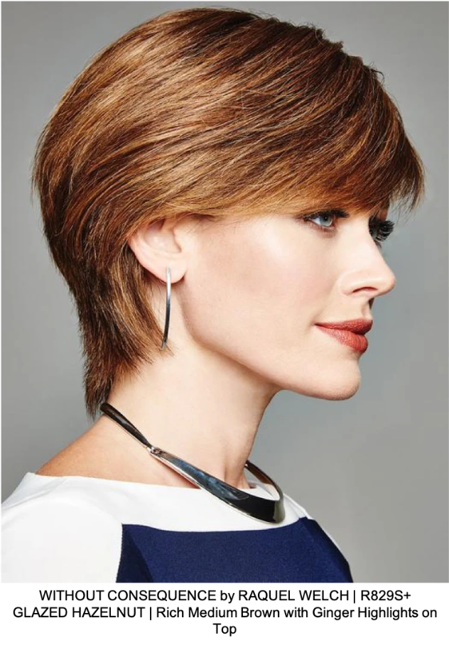 WITHOUT CONSEQUENCE by RAQUEL WELCH | R829S+ GLAZED HAZELNUT | Rich Medium Brown with Ginger Highlights on Top