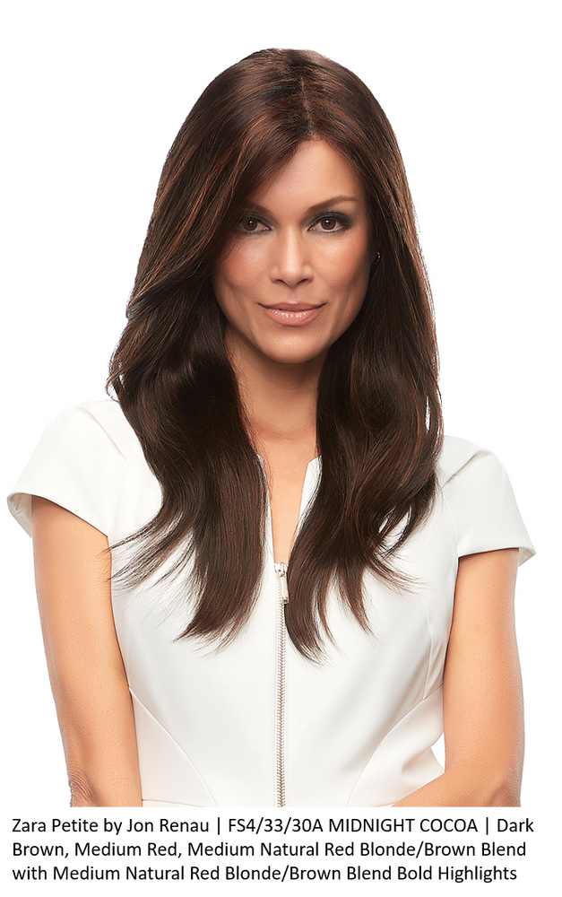 ZARA PETITE by JON RENAU in FS4/33/30A MIDNIGHT COCOA | Dark Brown, Medium Red, Medium Natural Red Blonde/Brown Blend with Medium Natural Red Blonde/Brown Blend Bold Highlights