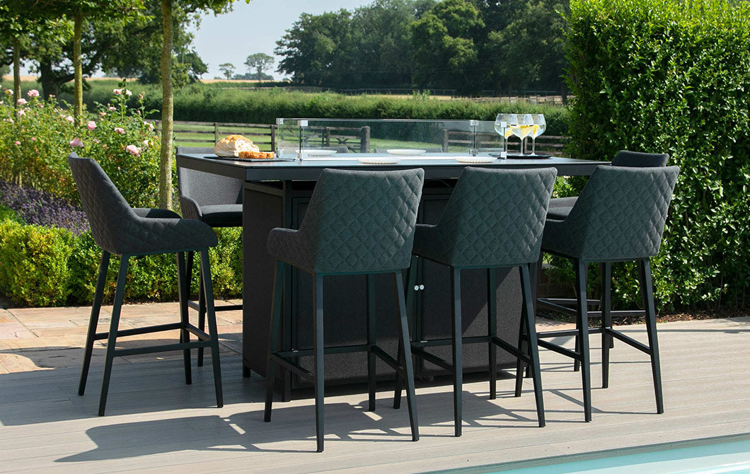 Bliss Charcoal 8 Seat Rectangular Fire-Pit Dining Set