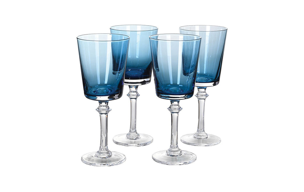 Blue Red Wine Glasses (set of 4)