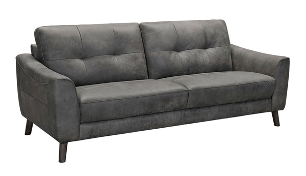 Angled front image showing Filoma grey leather luxury 2 seater sofa with white background