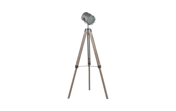 Grey Metal & Antique Wood Floor Marine Lamp