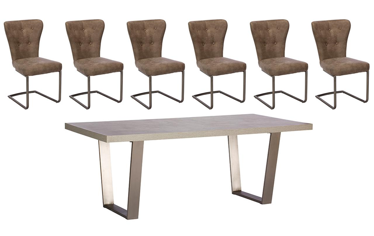 Petra 200cm Dining Table + 6 Oscar Chairs