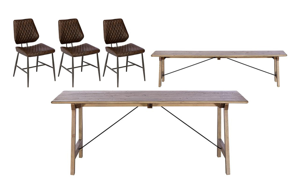 Madeira Dining Table + Bench + 3 Chairs