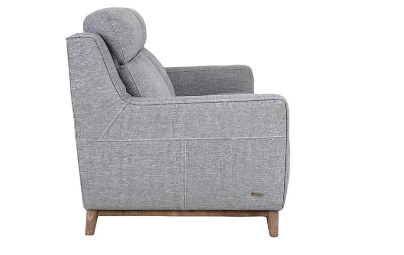 side image Placido light grey 2 seater sofa with white background