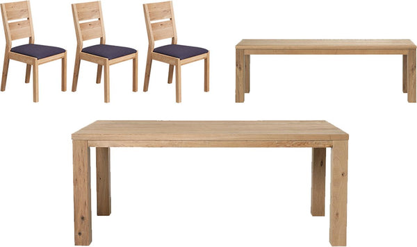 Rochester Dining Table, 3 Chair + Bench