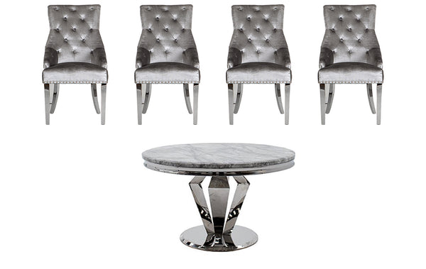 Ronda Round Dining Table + 4 Belvedere Chairs