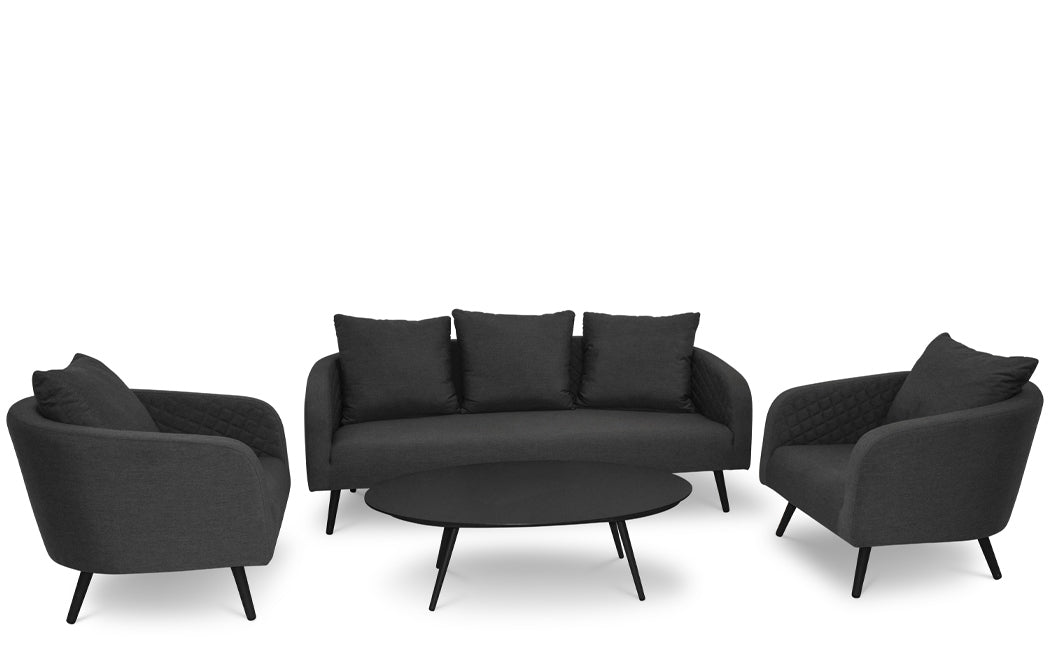 Serenity Charcoal 3 Seater Sofa Set