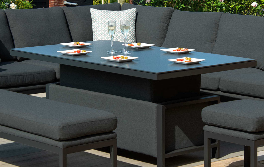 Xanadu Rectangular Corner Dining Set Charcoal