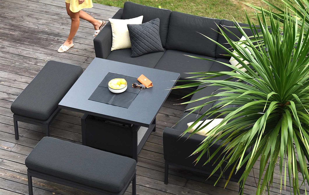 Xanadu Square Corner Dining Set Charcoal