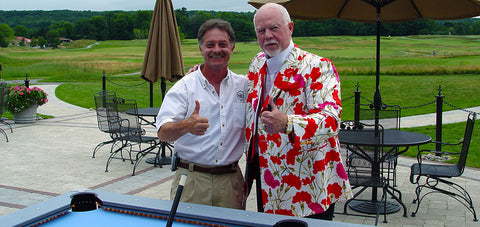 Guy Robertson of AKA and Don Cherry enjoying an Outdoor 8 Ball Pool Table