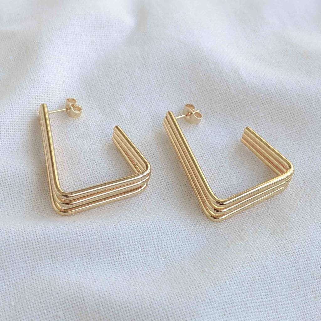 Tri-Lane Triangle Earrings-Lucky Love Boutique