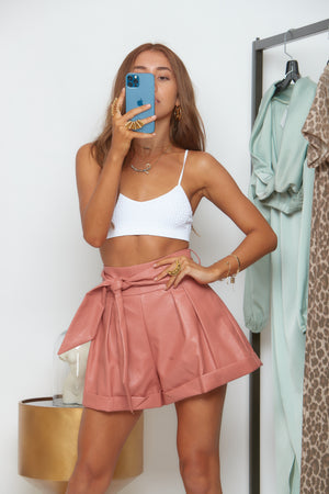 Rosé leather shorts-Lucky Love Boutique