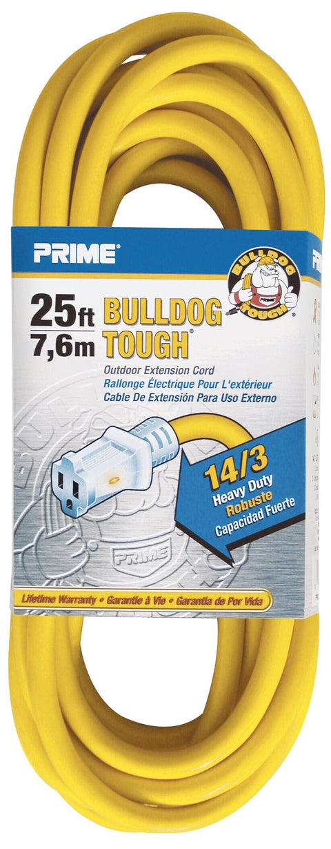 Prime® Bulldog Tough® 25 ft. Outdoor Extension Cord, Yellow