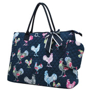 Fluffy Layers™ Rooster Garden Quilted Overnight Tote Bag