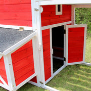 Zoovilla™ Red Barn Chicken Coop With Roof Top Planter