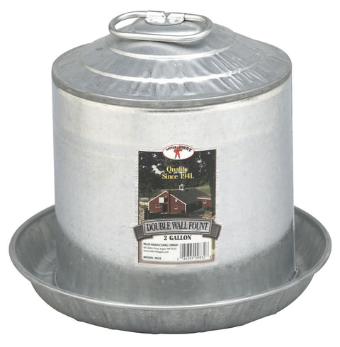 Little Giant® 2 Gallon Double Wall Metal Poultry Fount