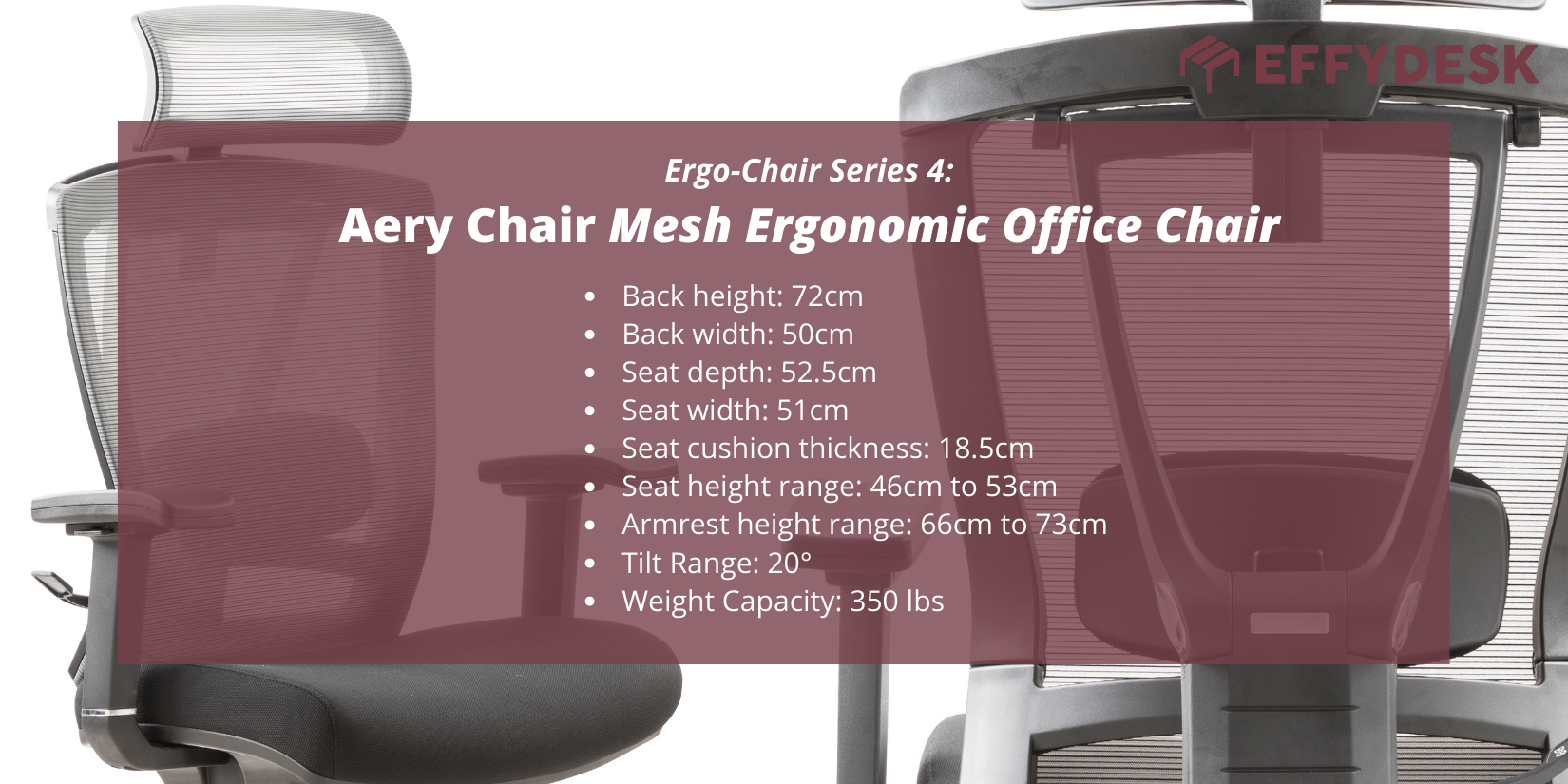 Canada's best selling ergonomic office chair for back pain, introducing effydesks series 4 aery chair