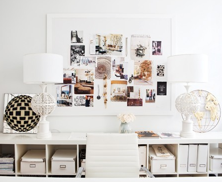 organized documents with simple white home office design
