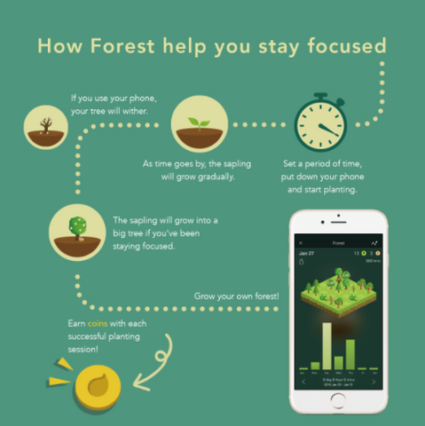 Stay Focused with Forest Phone App help you stay focus