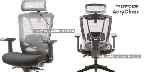 Aery chair has lumber support and head set on an office chair