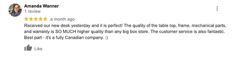Another five stars rate from our standing desk customer