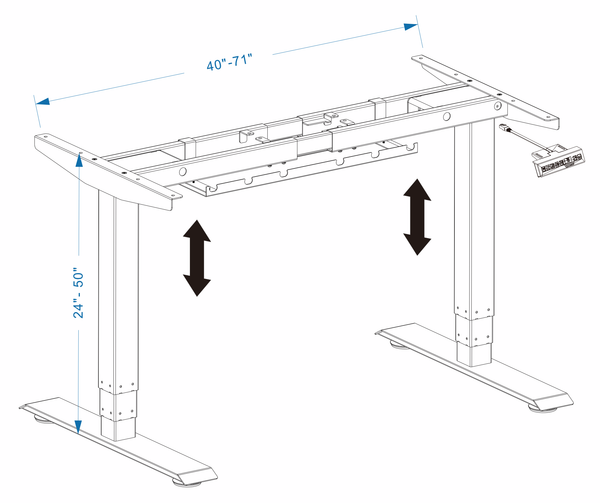 Business Office Sit-Stand Desk Dimensions