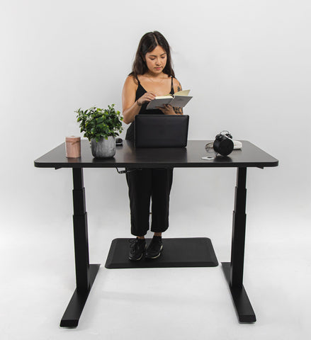 introverts reading her book in front of Business Office Standing Desk Oak Black