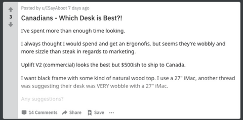 people are looking for standing desk in Canada on reddit board