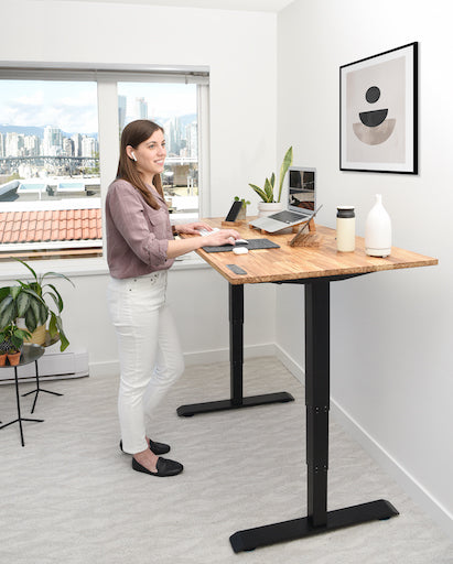TerraDesk - Recycled Chopstick Tabletop with Black Frame - Canadian Sustainable Brand