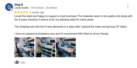 customer feedback on google that customer comment how amazing is the standing desk