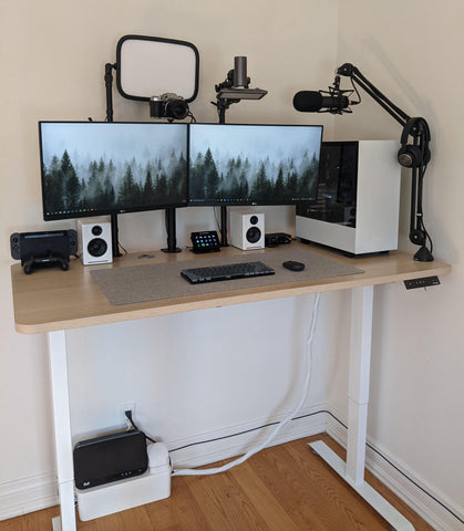 Electric Standing Desk Setup with Microphone Arm | Cool Gaming Accessories - EFFYDESK Blog
