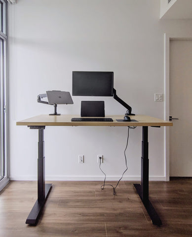 Standing desk have lots of workspace for you to work